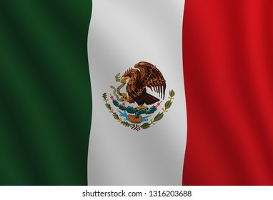 Graphic illustration of a flying Mexican flag