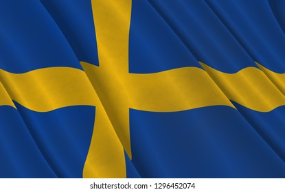 Graphic illustration of a flying Swedish flag