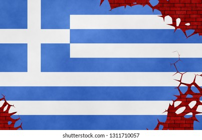 Graphic illustration of a Greek flag imitating a paiting on the cracked wall