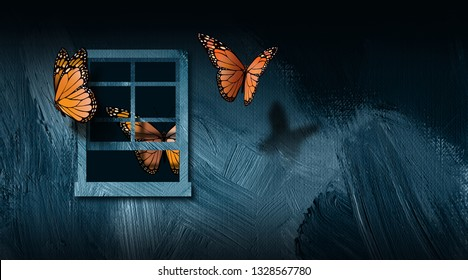 Graphic illustration of iconic butterflies escaping from open window. Art includes paint brush stroke texture. Simple, dramatic art for variety of themes including captivity and discovery of freedom.