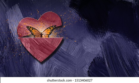 Graphic illustration of iconic butterfly releasing out of newly opening heart. Art applicable for various metaphoric concepts