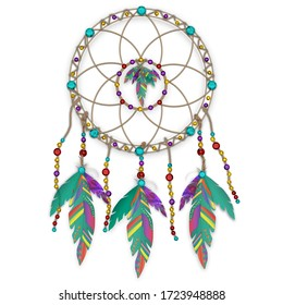 Graphic illustration of an Indian Dream Catcher with colorful feathers and beads isolated on white background