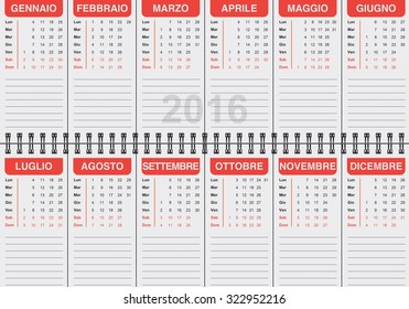 graphic illustration of the Italian calendar 2016