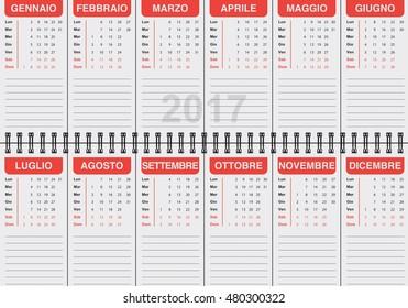 graphic illustration of the Italian calendar 2017