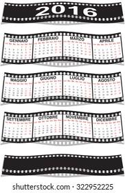 graphic illustration of the Italian film strip calendar 2016