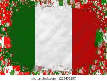 Graphic illustration of an Italian flag with a frame of small flags