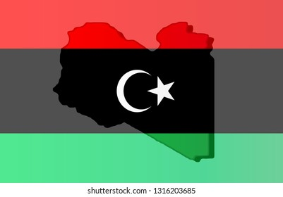 Graphic illustration of a Libyan flag with a contour of its borders