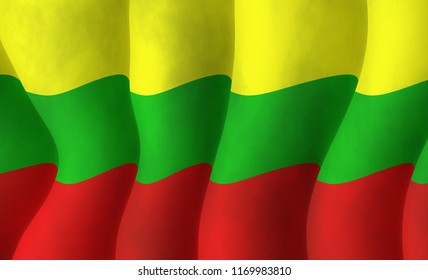 Graphic illustration of a Lithuanian flying flag