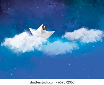 graphic illustration of lonely girl in paper boat sailing in the sky. Idea of fantasy, imagination, journey, dreaming, destination, direction, travel, art, adventure background design template