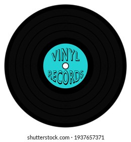 A graphic illustration of an LP with Cyan label and Vinyl Record text for use as an icon, logo or web decoration