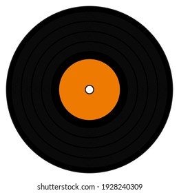 A graphic illustration of an LP with Orange label for use as an icon, logo or web decoration