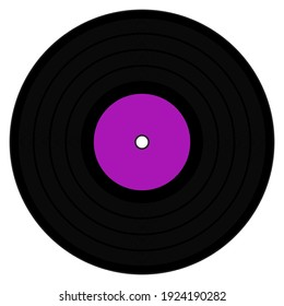 A graphic illustration of an LP with Purple label for use as an icon, logo or web decoration
