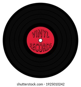 A graphic illustration of an LP with Red label and Vinyl Record text for use as an icon, logo or web decoration