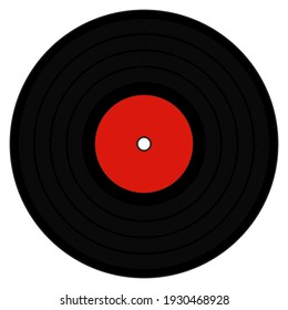 A graphic illustration of an LP with Red label for use as an icon, logo or web decoration