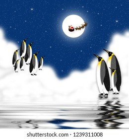 Graphic illustration of penguins in the artic watching Santa and his reindeer fly across moon.  Shades of blue.