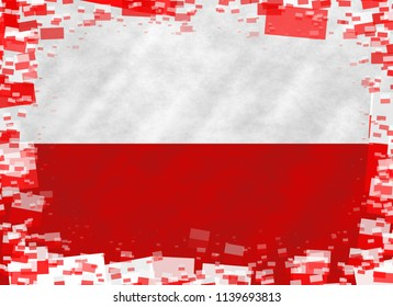 Graphic illustration of a Polish flag with a frame of small flags