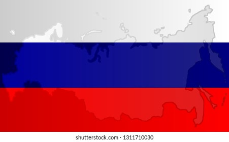 Graphic illustration of a Russian flag with a contour of its borders