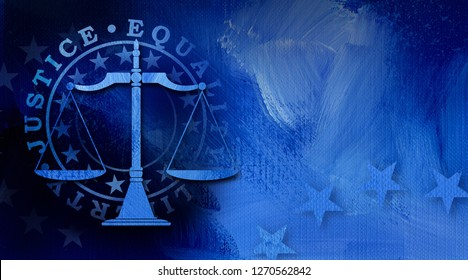 Graphic illustration of Scales of Justice icon with mock seal of Justice, Equality, and liberty on abstract oil paint background. Conceptual graphic for judicial themed usage.