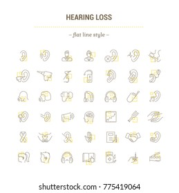 Graphic illustration. Set Icons in flat, contour, minimal, thin and linear design. Hearing loss. People with disabilities. Simple isolated concept. Web site sign, symbol, element.