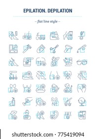 Graphic illustration. Set Icons in flat, contour, minimal, thin and linear design. Male, female epilation of body. Removal hair equipment. Simple isolated concept. Web site sign, symbol, element.