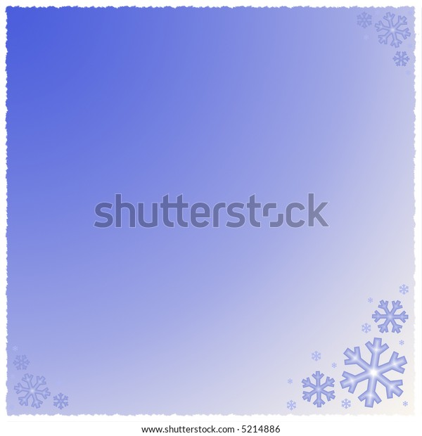 A graphic illustration of snowflakes against a blue gradient background with snow white trim.