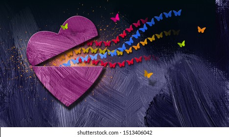 Graphic illustration of stream of iconic butterflies releasing out of opening heart. Art applicable for various concepts of emotions