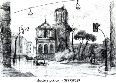 Graphic illustration of Street in Rome. European vew, Italy. Poster Design. Two-color pencil, sepia. Duo-tone