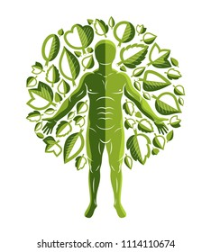 graphic illustration of strong male, body silhouette standing on white background and made using green leaves. Raw food diet, no gm concept.