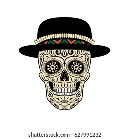 Graphic illustration of sugar skull in hat