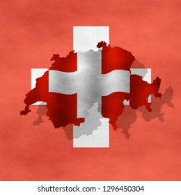Graphic illustration of a Swiss flag with a contour of bordes