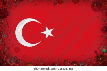Graphic illustration of a Turkish flag with a blossom motives as a frame