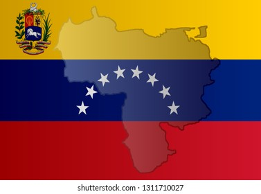 Graphic illustration of a Venezuelan flag with a contour of its borders
