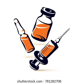 graphic illustration of vial, ampoule with medicine and medical syringe for injections. Scheduled vaccination theme.