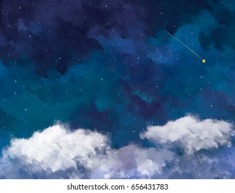 graphic illustration of water color blue night sky. Starry night sky design template background. Idea for galaxy, art, texture, galaxy wallpaper