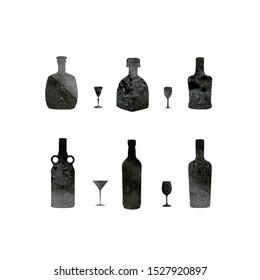 Graphic illustration of wine glasses bottles set on white background, elements