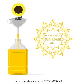Graphic illustration for yellow bottle sunflower oil, plastic jar with black seeds. Sunflower pattern consisting of container natural organic liquid, sunny flowers in oil drop. Tasty sunflower oil.