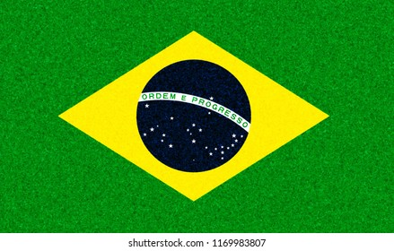Graphic ilustration of a Brazilian flag with a blossom pattern