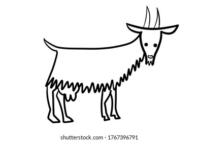 graphic image of animated cartoon goat with horns and udders