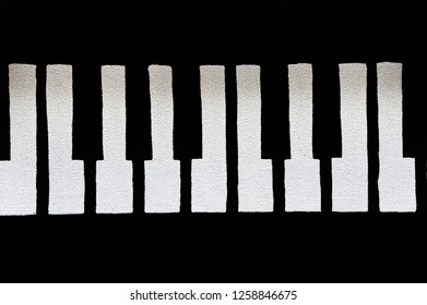 Graphic image shows the white piano keys cracked and brittle with age.