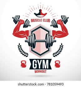 Graphic insignia created with strong sportsman biceps arm holding disc weight dumb bell and with kettle bell sport equipment. Gym and fitness symbol template