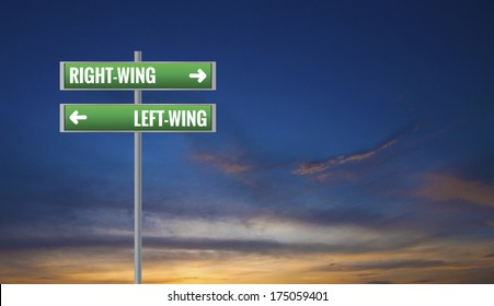 Graphic of a Left-wing and Right-wing Road Signs on Sunset Background