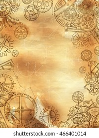 Graphic linear frame with mechanical parts, gears and cogs on old paper texture background. Border with hand drawn elements. Steampunk and old technology style