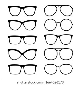 graphic linear set of isolated modern transparent glasses and sunglasses icons on white background