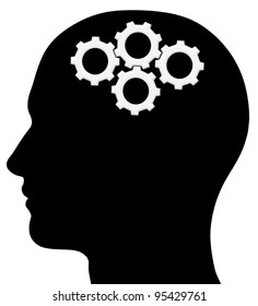 A graphic of a male head silhouette with gears. Problem solving process. Isolated on a solid white background.