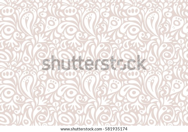 Graphic modern pattern. Abstract pattern in Arabian style. White and neutral texture. Seamless raster background.