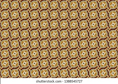 Graphic modern seamless pattern on brown, beige and yellow colors. Wallpaper baroque, damask. Seamless floral pattern. Seamless raster background.