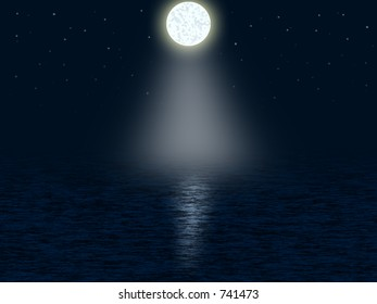 Graphic of moonlight at night on the sea