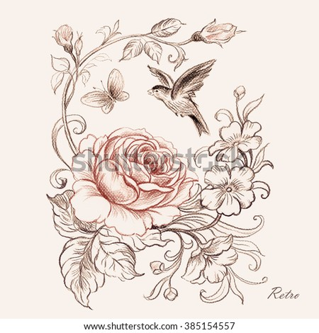 graphic pencil drawing roses bird butterfly 1 stock illustration