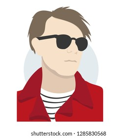 Graphic portrait of Andy Warhol. The guy in the red jacket and black glasses. Famous artist