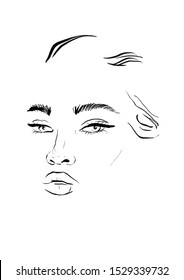 Graphic portrait of a woman in minimalism line drawing style. Beauty glamour concept design.